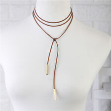 Coffee Sexy Imitation Suede Choker Bohemia Neck Tie Cord Necklace Jewelry Golden