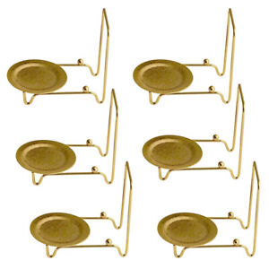 Tea Cup and Saucer Display Stand Easels Brass 6pc Etched Base