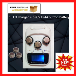 High Quality LR44 Rechargeable Coin Cell Battery 6pcs With Led Charger USB New