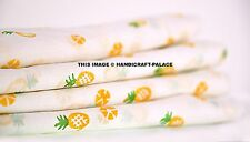 5 Yard Indian Cotton Pineapple Loose Fabric Ethnic Hand Block Print Dyeed Fabric