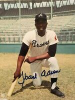 Hank Aaron 8x10 REPRINT Signed Photo Autographed HOF Braves REPRINT