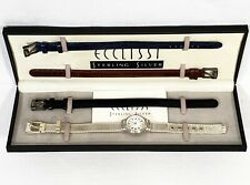 *AS-IS* Ecclissi 5002 Sterling Silver Watch Set w/ 3 Addl. Leather Bands 24929-8