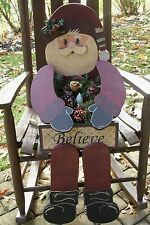 "HOLIDAY/CHRISTMAS PRIMITIVE WOOD CRAFT PATTERN-""MR. KRINGLE""-BENCH SITTER"