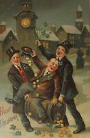 """""""Neujahr, Männer, Zylinder, Fass, Münzen, Kirche"""" 1907, Prägekarte ♥"""