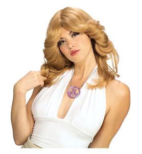 Charlie's Angels Farrah Fawcett Blonde 1970s Hippie Disco Women Costume Wig