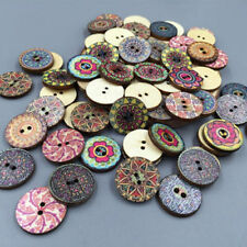 50 Mixed Pretty Colorful Flowers Wood Buttons Scrapbooking Sewing Craft 20mm