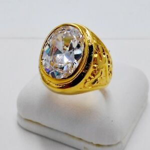 MEN RING WHITE SAPPHIRE 24K YELLOW GOLD FILLED GP DRAGON CELTIC SOLITAIRE SIZE 9