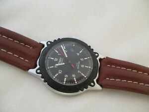 Timex Watch Silver Toned Round Black Face Brown Leather Buckle Band WR 30M