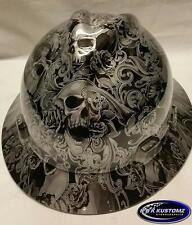 Silver Skulls and Roses Full Brim New Custom MSA V-Gard  Hard Hat W/FasTrac