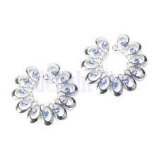 2 Blue Crystal Floral Flowers Fake Clip On No Non Piercing Nipple Shield Ring DG