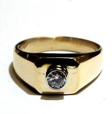 14k yellow gold .37ct VS H round diamond mens solitaire bezel set ring 14.2g