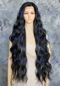 Extra Long Loose Waves Lace Front Human Hair Blend Wig Jet Black OCEV 1
