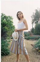 New Anthropologie Laura Wrap Midi Skirt by Maeve $110  YELLOW MOTIF Size 8