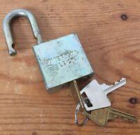 Vtg American Lock Series 5200 US Military Hardened Steel Shackle Padlock 3 Keys
