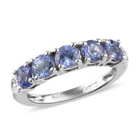 925 Sterling Silver Platinum Over Blue Tanzanite Ring Jewelry Gift Size 8 Ct 1.6