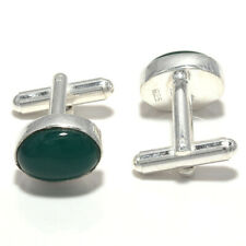 Green Onyx Gemstone Handmade 925 Sterling Silver Cufflinks Jewelry 5905