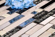 1 m² acier poli, Pierre & ARGENT brique en verre forme Mosaic Tile Feuille 0146