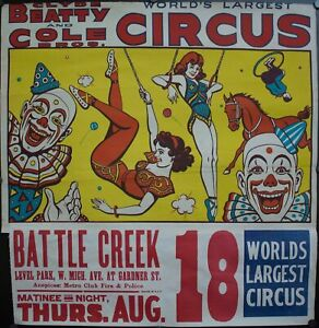 c. 1940 Clyde Beatty and Cole Bros World's Largest Circus Battle Creek Poster