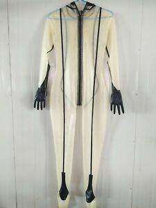 latex gummi fullbody rubber catsuit black&white women sexy cosplay 0.4mm s-xxl