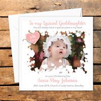Personalised Handmade Photo Christening Baptism Card Boy Godson Girl Goddaughter