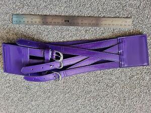 Dorothy Perkins Belt Purple Patent Elastic Buckle Medium waist 3 inch thick
