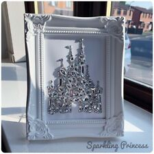 Photo Frame White Framed Crystal Disney Princess Castle Any Colour Rhinestones