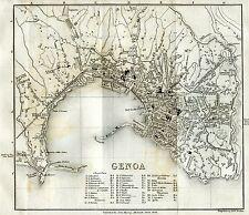 Pianta di Genova. Carta Topografica.Geografica.Stampa Antica + Passepartout.1856