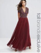 Asos Maya Sequin Red Maroon Burgundy wedding bridesmaid Maxi Dress 8 Tall Eid