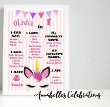 Printable Custom Unicorn First Birthday Milestone Party Decorations 1st Girls