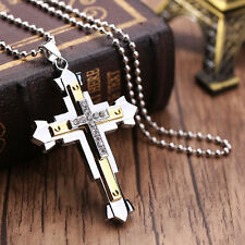 New Cross Pendant Necklace Gold Stainless Steel Unisex Crucifix Necklace Gift
