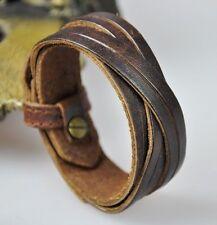 K11 Classic Surfer Genuine Leather Braided Bracelet Wristband Cuff Vintage Brown