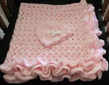 Pink Ruffle Hand Crochet Baby Blanket w/ cute cap