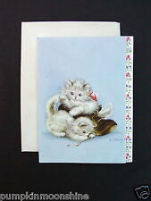 Unused Hope Champion Xmas Greeting Card Precious Kittens Playing with a Shoe