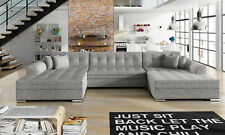 Design Corner Sofa Bed Function Couch Leather Pads Textile New 1070