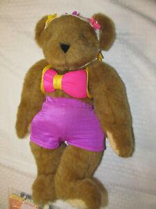 "Tan 16"" Vermont Teddy Bear In Bikini W/ Swim Cap EUC"