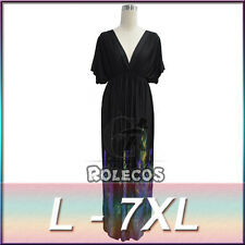 Women Oversize V Neck Peacock Boho Long Maxi Beach Dresses Plus Size US6-20