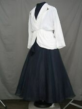 Victorian Dress Edwardian Civil War Walking Suit Navy Blue & White