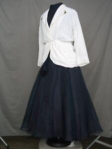 Victorian Dress Edwardian Civil War Walking Suit Navy Blue & White