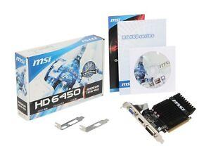 MSI Radeon HD 6450 2GB DDR3 Video Card 6450  Low Profile LP Noise-Free Silent