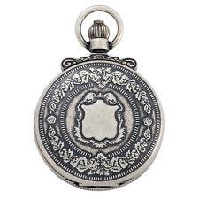 Gotham Men's Antique Silver-Tone Double Cover Exhibition Mechanical Pocket Watch