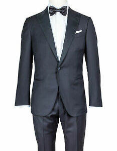 Caruso Tuxedo IN Black Made Of Super 130'S Wool - Contrasting Reverse