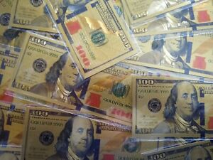 $100 Bill Gold Foil Novelty Fake Money Party Favor Bookmarker 2 Sided