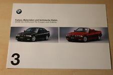 70320) BMW 3er Reihe E36 Editionen Farben & Polster Prospekt 199?