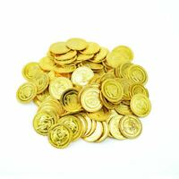 100 Gold Pirate Coins Party Treasure Plastic Loot Bag Toys Fillers Childrens Fun