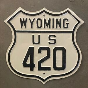 Wyoming US route 420 highway road sign embossed 1920s 1930s