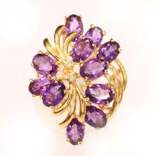 14k solid gold amethyst / diamond ring ( Free Sizing )