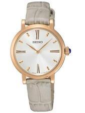 Seiko SFQ812P1 señoras tono Rosa Dorado Reloj de vestir gris atado RRP £ 189.00