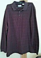 HAGGAR Men's Sz Large Burgundy Polo Shirt Long Sleeve Plaid Checks