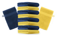 """10er Pack Waschhandschuhe """"Premium"""" Farbe: Gelb & Dunkelblau, Größe: 17x21 cm"""