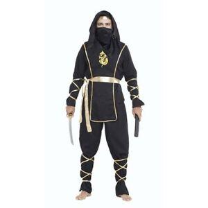 Halloween Adult Men Black Warrior Dragon Ninja Swordsman Costume Suit Outfit